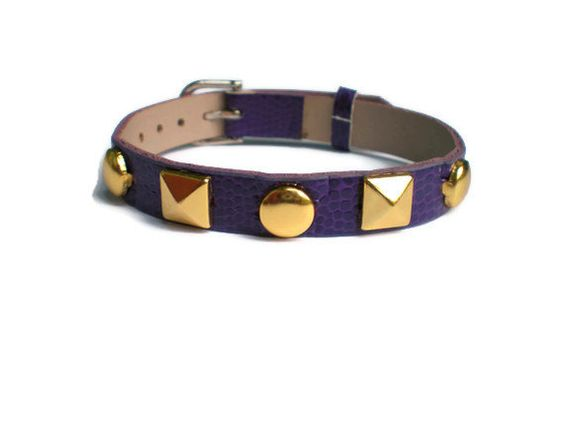 Purple+Leather+Bracelet+With+Gold+Pyramid+and+Round+by+SimplyRozi,+$3.75