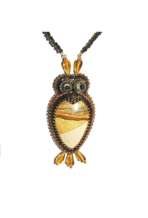 Bead embroidery pendant wise owl ooak handmade jewelry