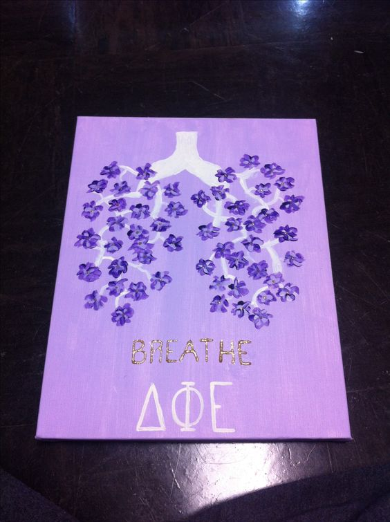 Flower Lung Canvas. Cystic fibrosis. Delta Phi Epsilon. Philanthropy.