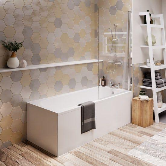 Ideal Standard Tesi Single Ended Idealform Plus Straight Bath And Radius Screen 1700 X 700 Straight Baths Bath Screens Bath Shower Screens