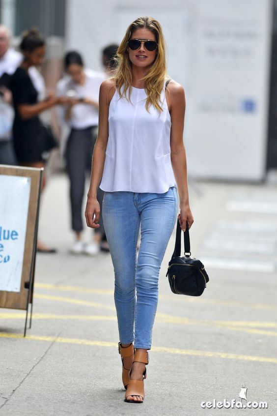 White Top, Light Blue Jeans, Camel Sandals and Black Handbag ...