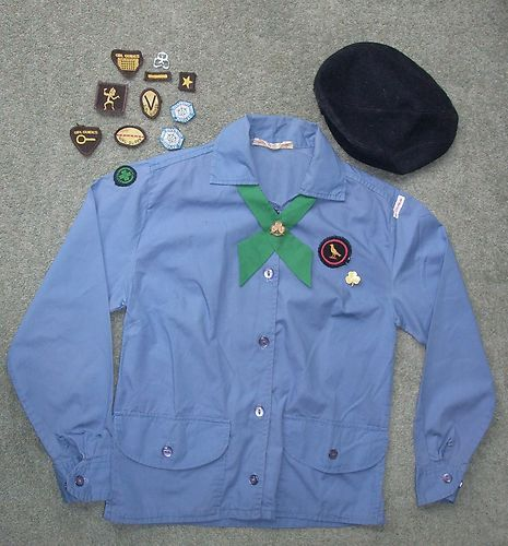 Vintage 1970s UK Girl Guide uniform shirt hat tie + badges & Brownie badge. This was like my uniform with a navy skirt.