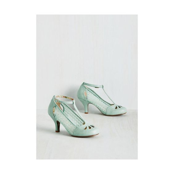 Bettie Page Vintage Inspired Cut to the Terpsichore Heel ($75) ❤ liked on Polyvore featuring shoes, pumps, heels, mint, t-strap heel, bettie page, cutout pumps, vintage style shoes, vintage style pumps and vintage looking shoes