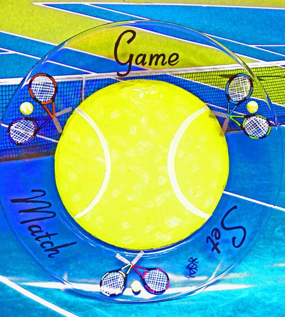 Tennis Gift Platter Glass Serving Plate Tennis Racquet Team Party Captain Gift Hand Painted Whimsical Fun Unique Tournament Tennis Ball Cute. $34.95, via Etsy.
