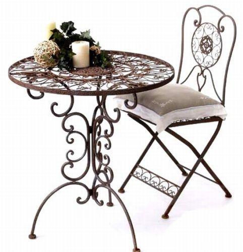 Tisch Mit 2 Stuhle Set Kolonialstil Schmiedeeisen Tecl Tisch