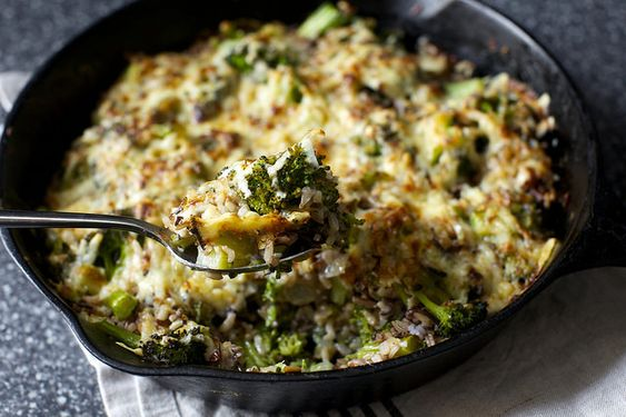 broccoli, cheddar and wild rice casserole by smitten kitchen [made w/2 c cooked barley & shredded gouda -- turned out awesomely!]