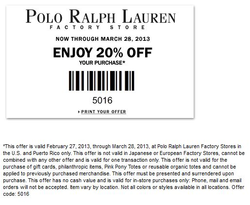 Extra 20% off at Polo Ralph Lauren Factory locations coupon via The Coupons App