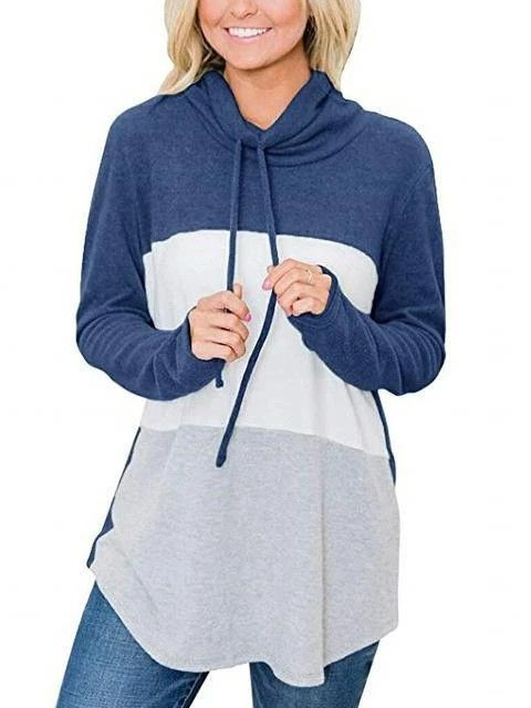 Joe Wenko Women Loose Funnel Neck Long Sleeve Color Block Pullover Sweatshirts Hooded