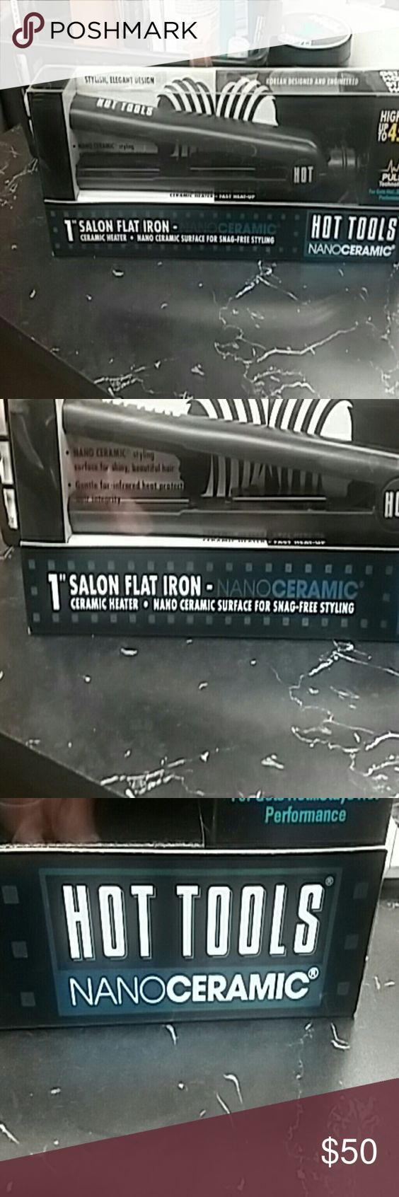 Hot tools salon 1 inch flat iron Hot Tools 1 inch salon flat iron it is ceramic and it heats up to 450? F Hot Tools Other