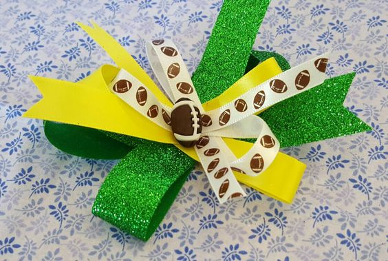 Pair of Yellow and Green Football Hair Bows, Unique Hair Bows, Clips, Barrettes, Glitter Hair Bows, Sports Hair Bows, Hairbows by LudicBows on Etsy