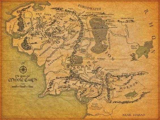 Mapa de la Tierra Media en El Señor de los Anillos - Geografía Infinita