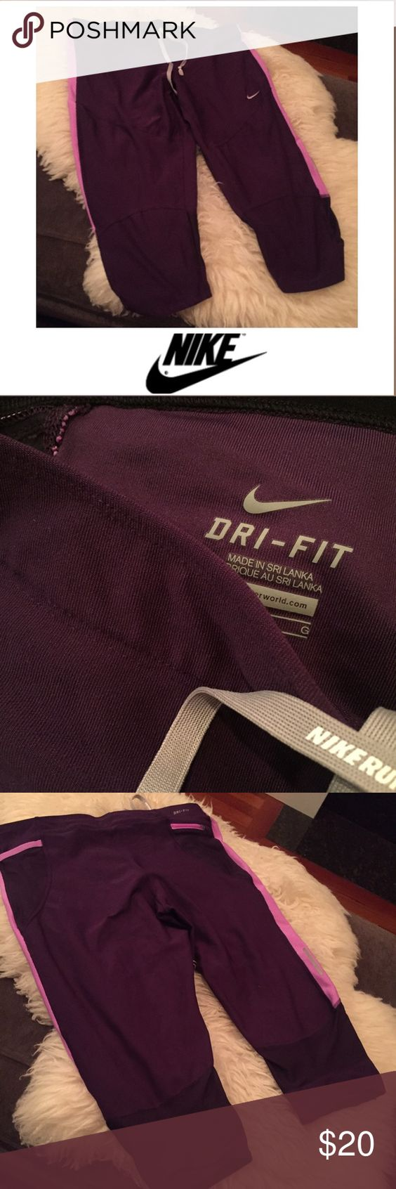 Nike Running Purple Athletic Crop Pants Nike Running Purple Athletic Crop Pants. Tight on the legs and calves. 18 inches long. 9 inch rise. Bought and wore just a few times. Excellent condition. Feel free to make an offer. Nike Pants Ankle & Cropped
