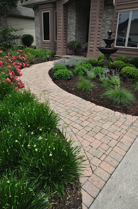 Feng shui landscape curved sidewalks lead to the front - Front door walkways and paths ...