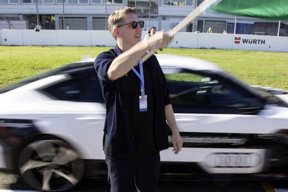 Le joueur allemand Bastian Schweinsteiger était à Hockenheim pour assister aux exploits de l'Audi.