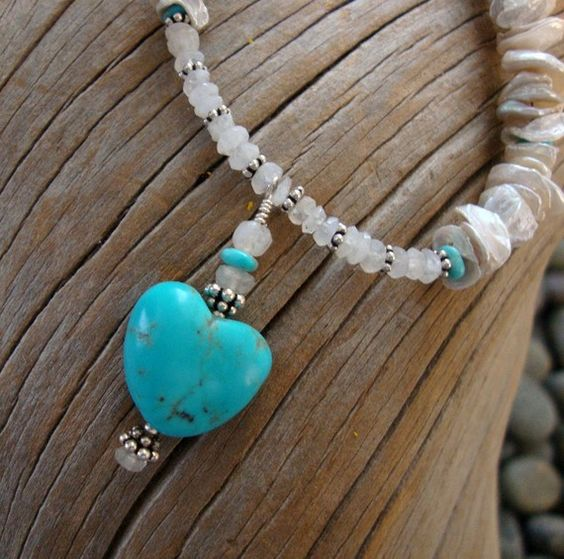Nugget Turquoise Heart  Keshi Pearls  by CalliopeAZCreations, $138.00
