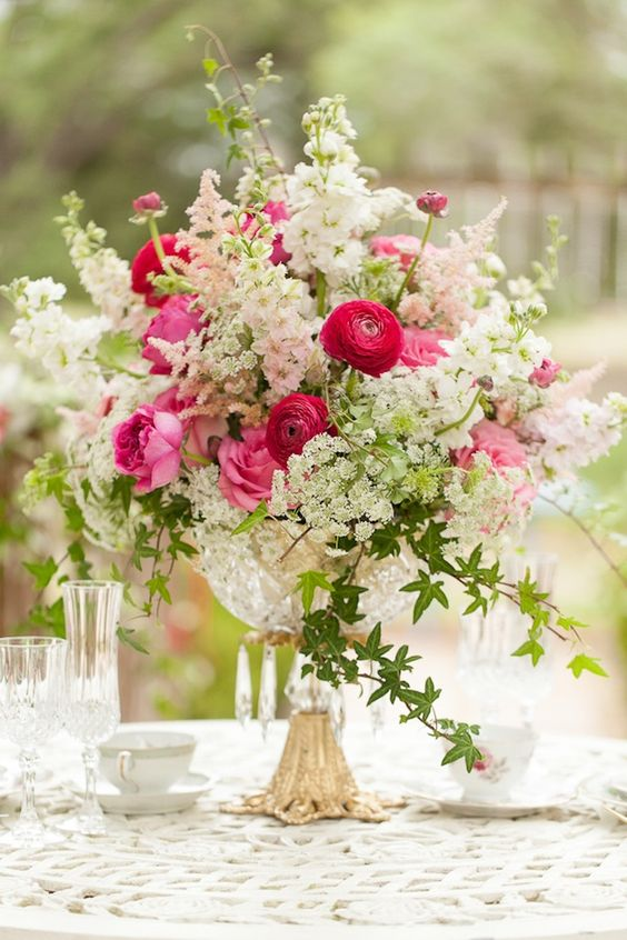 Fuchsia and Blush Vintage Inspired Centerpiece | Whimsical Garden Wedding Inspiration Shoot: