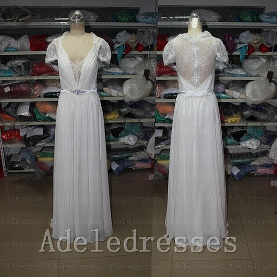 Custom Made Cap Sleeves Lace Chiffon Wedding Dress,See Through Back Beach Wedding Dress,Deep V Neck Long Outside Wedding Gown,Bridal Dress By Adeledresses