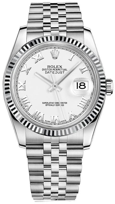 116234 Rolex Oyster Perpetual Datejust 36 White Dial Men S Watch Rolex Rolex Watches Rolex Datejust