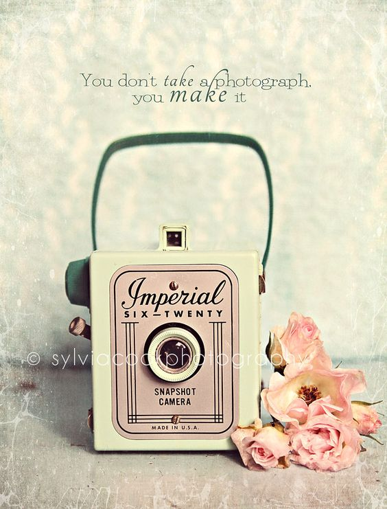Shabby chic home decor vintage imperial camera fine art print spring home decor pink and green - Camera shabby chic ...