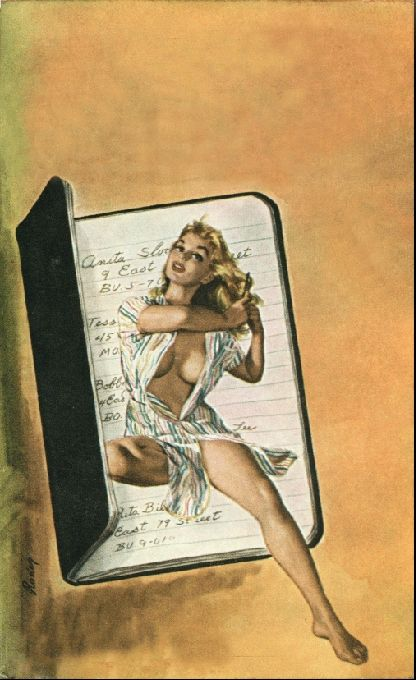 PAUL RADER - art for The Little Black Book by Mike Avallone - 1961 Midwood Y135