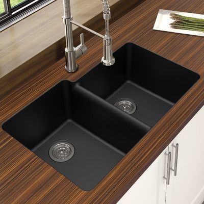 "Winpro Granite Quartz Offset 33"" x 22"" Double Bowl Undermount Kitchen Sink Finish: Black"