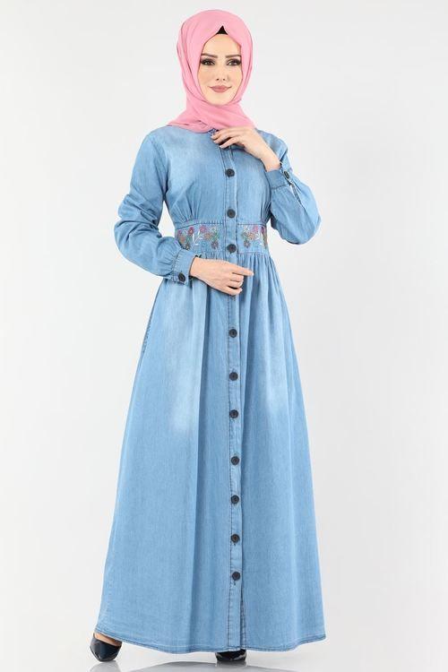 Modaselvim Elbise Beli Nakisli Kot Elbise Ferace 5007se379 Acik Kot Denim Fashion Fashion Hijab Fashion