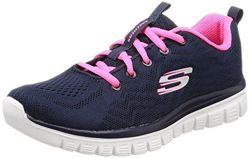 Skechers Women 12615 Low Top Trainers, Blue (NavyHot Pink