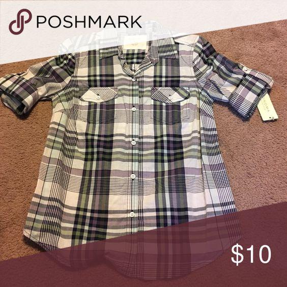 Plaid short sleeve shirt From kohls. 100% cotton. Never worn. White/purple/green. Sonoma Tops Button Down Shirts