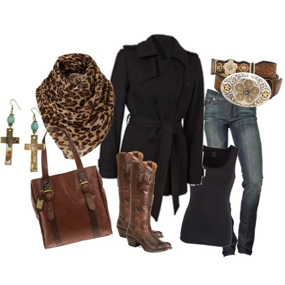 My style right here.  Cowboy boots, crosses, scarf, jeans and big belt buckle =)