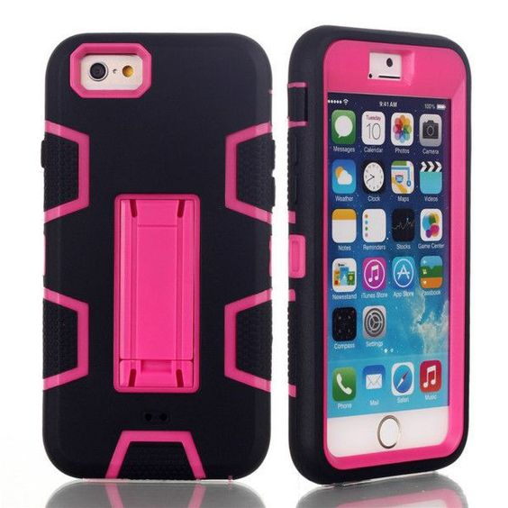 For iPhone 6 Case Silicone 3 in 1 Heavy Duty Shockproof Defender Cover For iPhone 6s/6 Plus/5S/5C/5SE/4S Armor Stand Phone Cases