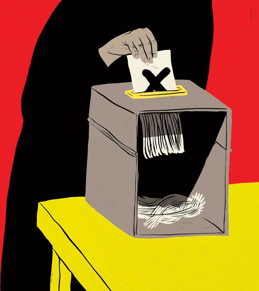 "Paul Blow - ""Elections in the Islamic States"" for the Guardian. Vivid and contrasting colours create visual unease. The block colours are also powerful and slightly overwhelming. The details in the linework are stylised to help suggest the exaggerated message. Very recognisable images of the ballot box, a vote (X) and the black colour and visible hand associated with a Burqa. Builds off a cultural awareness to make this easy to understand as well.:"