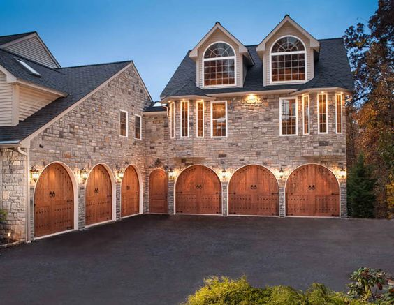 Six bay garage with clopay canyon ridge collection faux for Drive through garage door