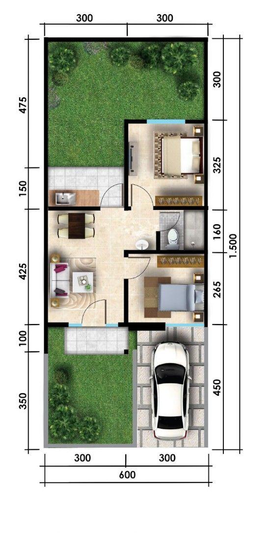 denah rumah 6x15 1 lantai 3 kamar tidur