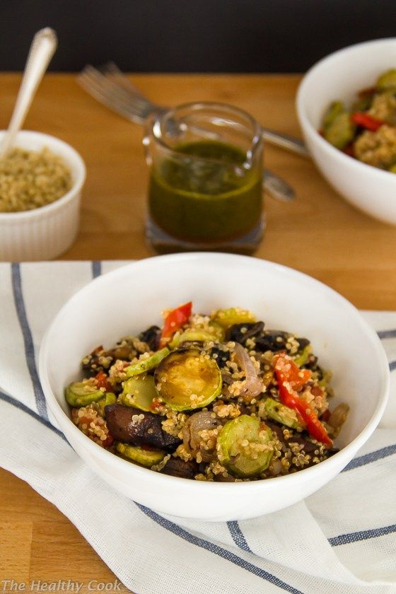 Grilled Veggie Salad with Quinoa and Basil Vinaigrette – Σαλάτα με Ψητά Λαχανικά και Κινόα και Βινεγκρέτ Βασιλικού  - The Healthy Cook