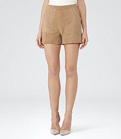 Paris Tan Suede Shorts - REISS