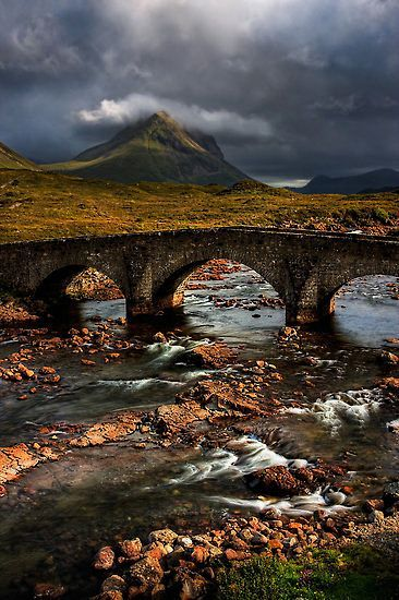 Marsco in the Red Hills, and the Old Bridge at Sligachan, Isle of Skye.
