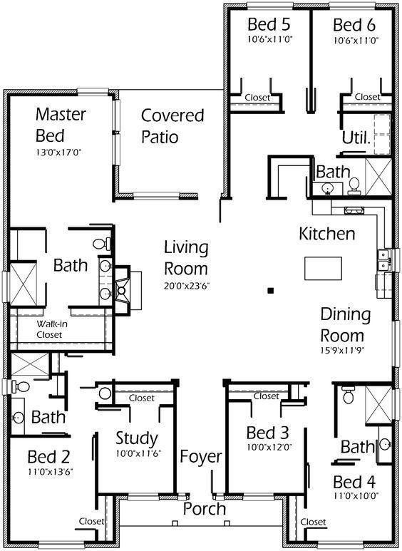 Pin By Hurricane Tyler On Floor Plans 6 Bedroom House Plans 1 Bedroom House Plans New House Plans