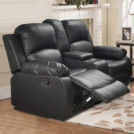 Reclining Loveseat With Center Console Black Faux Leather Wood Frame Furniture  #BeverlyFineFurniture
