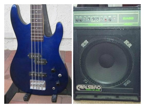 My first Bass and first amp | Aria Pro II Bass guitar and Cobra Bass 90 combo by Carlsbro | Pictured in 1990.