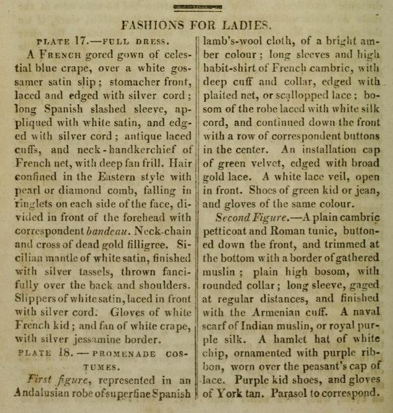 Descriptions of fashions from Ackermann's Repository tory: http://archive.org/search.php?query=ackermann%27s%20repository