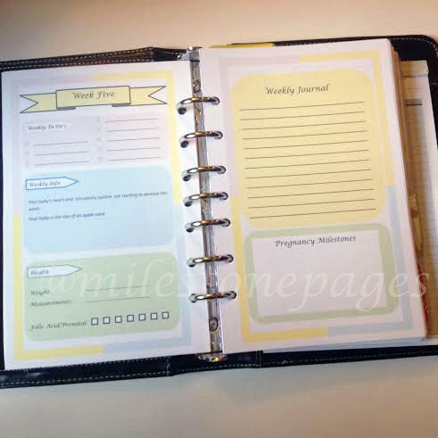 A planner to keep track of your pregnancy, doctors apts, and more! DIGITAL Pregnancy Planner Inserts A5 size by Milestonepages