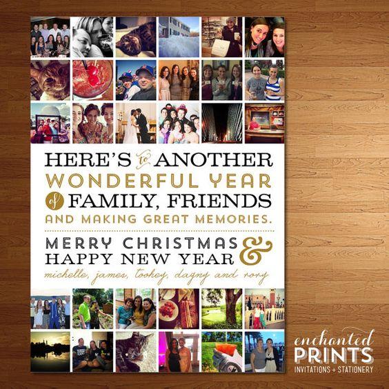 Instagram Christmas Card Hashtag Multiple Photo Collage Year Etsy Family Christmas Card Photos Printable Holiday Card Christmas Card Collage