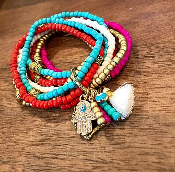 Colorful 8 strand bracelet , beach anklet, slipper charm, beading, bead jewelry, boho anklet, gypsy