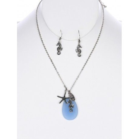 AGED FINISH METAL SEA LIFE CHARMS NECKLACE AND EARRING SET