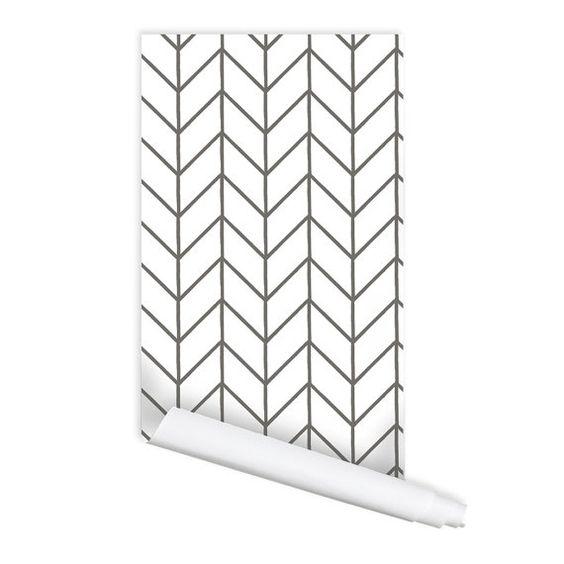 Herringbone Chevron Pattern 01 Peel & Stick by RoyalWallSkins