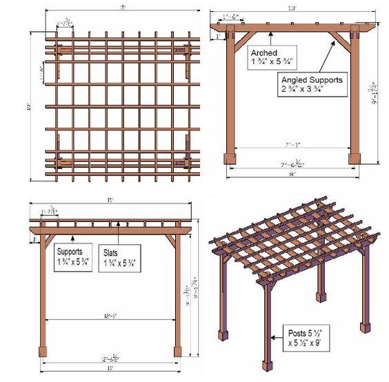 Drawing your own pergola plans dibujos planos de for Design your own pergola