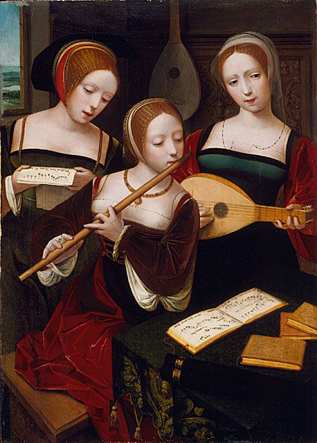 three musicians master of the female half lengths c