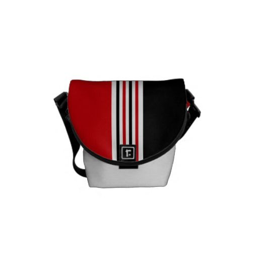 RED WHITE AND BLACK PURSES PICS  | Black White Stripes Pattern, Red Monogram Courier Bag