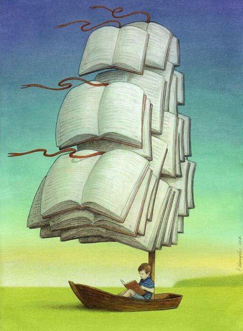 La lectura es un gran viaje, que iniciamos desde la cuna y nos lleva por lugares insospechados. Viajamos por la vida cargados de libros (ilustración de Pawel Kuczynski )