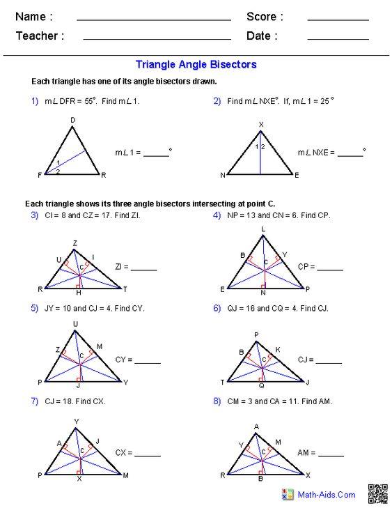 angle bisectors worksheets geometry pinterest angles and worksheets. Black Bedroom Furniture Sets. Home Design Ideas
